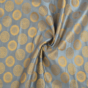 Gray and Golden Circular Silk Satin Brocade Fabric-8696