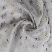Gray and Golden Leaf Design Embroidery Organza Fabric-50068