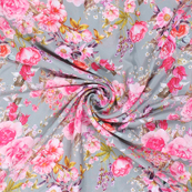 Gray and Pink Flower Silk Crepe Fabric-18126