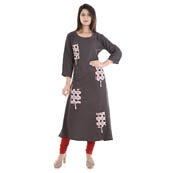 Gray and Red 3/4 Sleeve Four Pocket Patch Design Rayon Kurti-3066