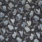 Gray and White Flower with Gray Leafs Pattern Block Print Cotton Fabric