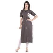 Gray and White Half Sleeve Pocket and Back Design Rayon Kurti-3071