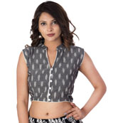 Gray and White Sleeveless Cotton Ikat Blouse-30205