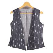 Gray and White Sleeveless Ikat Cotton Koti Jacket-12218