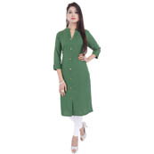 Green 3/4 Sleeve Solid Cotton Kurti-3016