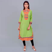 Green And Orange Cotton Kurti-22021