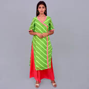 Green And Pink Leharia Georggette Kurti-22040