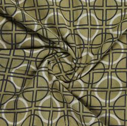 Green Black Block Print Cotton Fabric-16130