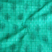 Green Black Foil Print Cotton Fabric-15124