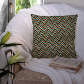 Green-Black and White Cotton Cushion Cover-35033