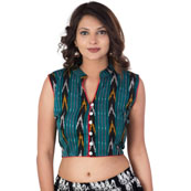 Green-Black and Yellow Cut Sleeve Cotton Ikat Blouse-30214