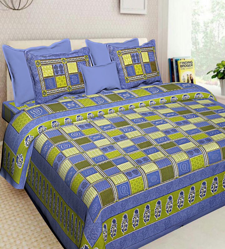 Green Blue Cotton Jaipuri Bedsheet-569
