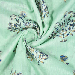 Green Blue Floral Rayon Fabric-16223