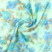 Green Blue Flower Organza Digital Silk Fabric-51496