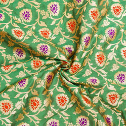 Green Blue and Golden Floral Brocade Silk Fabric-12545