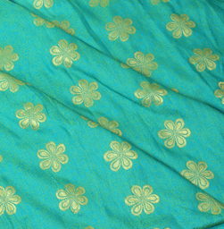 Green-Blue and Golden Floral Design Brocade Silk Fabric-8331