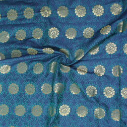 Green-Blue and Golden Flower Design Brocade Silk Fabric-8359