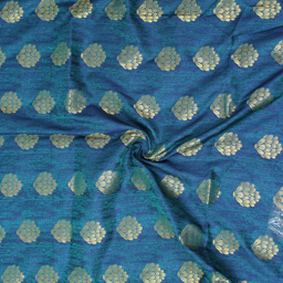 Green-Blue and Golden Flower Pattern Brocade Silk fabric-8337