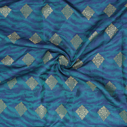 Green-Blue and Golden Square Design Brocade Silk Fabric-8361
