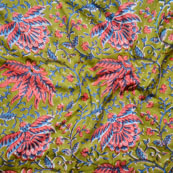 Green Blue and Red Block Print Cotton Fabric-14632