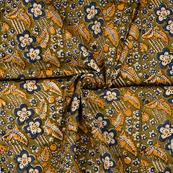 Green-Blue and Yellow Floral Design Kalamkari Cotton Block Print Fabric-14365