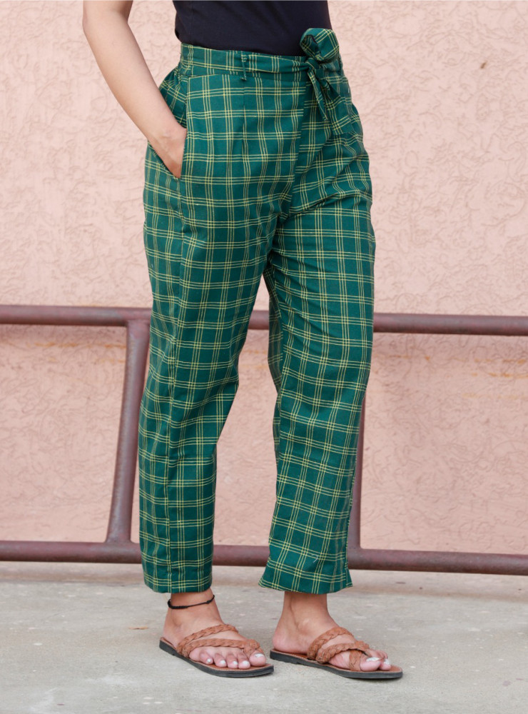 Green Cotton Checks Women Pants with Loose Belt-33224