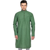 Green Cotton Plain Handloom Long Kurta-33148