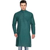 Green Cotton Plain Handloom Khadi Long Kurta-33152