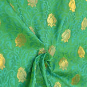 Green-Cyan and Golden Floral Pattern Soft Brocade Silk Fabric-8129