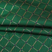 Green Golden Checks Zari Brocade Silk Fabric-9288