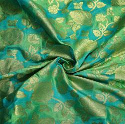 Green Golden Floral Brocade Silk Fabric-12202