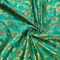 Green Golden Floral Brocade Silk Fabric-12226