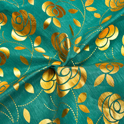Green Golden Floral Brocade Silk Fabric-12271