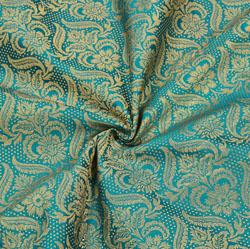 Green Golden Floral Brocade Silk Fabric-12358