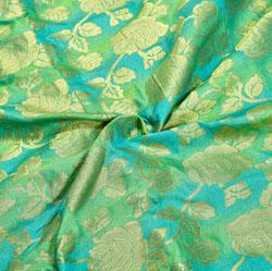 Green Golden Floral Brocade Silk Fabric-12360