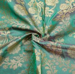 Green Golden Floral Brocade Silk Fabric-12363