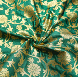 Green Golden Floral Brocade Silk Fabric-12428