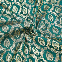 Green Golden Floral Brocade Silk Fabric-12434