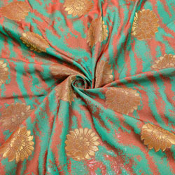 Green Golden Floral Brocade Silk Fabric-12484