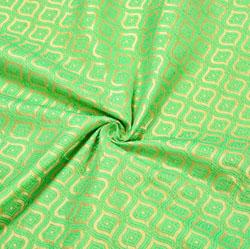 Green Golden Floral Brocade Silk Fabric-12528