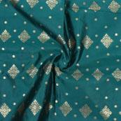 Green Golden Floral Jacquard Brocade Silk Fabric-9165