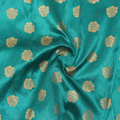 Green Golden Floral Jacquard Brocade Silk Fabric-9187