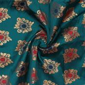 Green Golden Floral Brocade Silk Fabric-9365