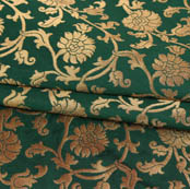 Green Golden Floral Brocade Silk Fabric-9375