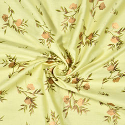 Green Golden Floral Rayon Fabric-16228