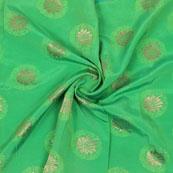 Green Golden Floral Brocade Silk Fabric-9098