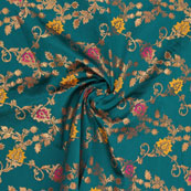 Green Golden Pink and Yellow Floral Brocade Silk Fabric-9108