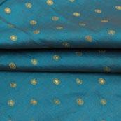 Green Golden Polka Jacquard Brocade Silk Fabric-9174