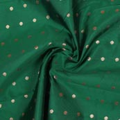 Green Golden Polka Brocade Silk Fabric-9351