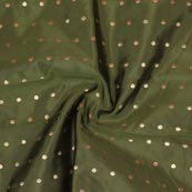 Green Golden Polka Brocade Silk Fabric-9352